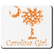 Carolina Girls and polka dots, a great combination! Get your Orange Polka Dot Carolina Girl Mousepad with an orange South Carolina palmetto moon.