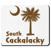 Brown South Cackalacky Palmetto Moon Mousepad features the South Carolina palmetto moon logo in brown.