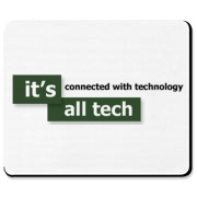A Mouse Pad that has the green It's All Tech logo on it.