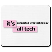 A Mouse Pad that has the pink It's All Tech logo on it.