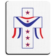 American Appeal Cross with patriotic stars and stripes.