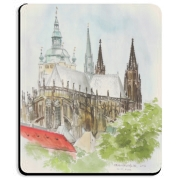 An original watercolor painting of the grand cathedral of Prague Castle.