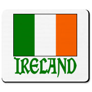 Word IRELAND shows in green lettering underneath a large image of the Irish Flag.