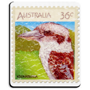 This Australian stamp has their famous laughing kookaburra, the largest kingfisher in the world. These shirts have a lightly distressed look for an aged appearance.
