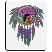 The Eagle Maiden in this design is a Native American girl who has a special spiritual connection with the eagle above her. A tranquil scene that is done beautifully in purples and teals. Makes a lovely gift!