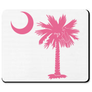 A pink palmetto and crescent moon. The palmetto is a symbol of South Carolina pride. Buy the pink palmetto moon on a t-shirt, sweatshirt, or other clothing or gift item.