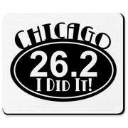 Oval Chicago 26.2, I Did It! On shirts, aprons, and mousepads.