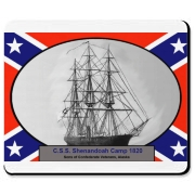 The C.S.S. Shenandoah is front and center in black and white with the Confederate flag as a background.