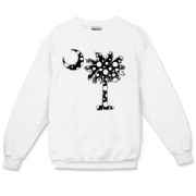 Black Polka Dot Palmetto Moon Crewneck Sweatshirt features a black palmetto moon with white polka dots. Buy this fun variation on the South Carolina palmetto moon flag today!
