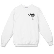 Black Polka Dot Palmetto Moon Crewneck Sweatshirt features a small black palmetto moon with white polka dots printed in the pocket area.