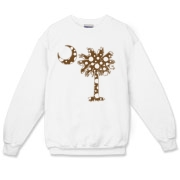 Chocolate Brown Polka Dot Palmetto Moon Crewneck Sweatshirt features a chocolate brown palmetto moon with white polka dots. Buy this fun variation on the South Carolina palmetto moon flag today!