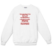This witty cosmology limerick crewneck sweatshirt gives in rhyme a quick recount of the evolution of the universe, from the Big Bang beginning to the creation of mankind.