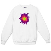 This multicolored art crewneck sweatshirt shows colorful spiral arms with shooting sparks, spreading out from a bright central core.