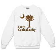 Brown South Cackalacky Palmetto Moon Crewneck Sweatshirt features the South Carolina palmetto moon logo in brown.