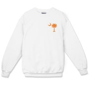 Orange and Purple South Cackalacky Palmetto Moon Crewneck Sweatshirt features the South Carolina palmetto moon logo in orange and purple on the back and a smaller, matching palmetto moon on the front.