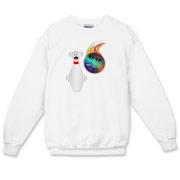 The cartoon bowling pin on this whimsical bowling crewneck sweatshirt shows total terror as the flaming bowling ball races to get a spare.