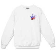 This bowling sweatshirt with patriotic pocket emblem design shows bright colored bowling pins and a colorful bowling ball, all wrapped in stars and stripes.