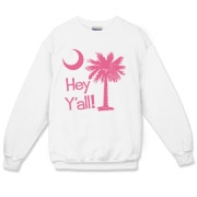 Say hello with the Pink Hey Y'all Palmetto Moon Crewneck Sweatshirt. It features the South Carolina palmetto moon.