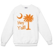 Say hello with the Orange Hey Y'all Palmetto Moon Crewneck Sweatshirt. It features the South Carolina palmetto moon.