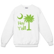Say hello with the Lime Green Hey Y'all Palmetto Moon Crewneck Sweatshirt. It features the South Carolina palmetto moon.
