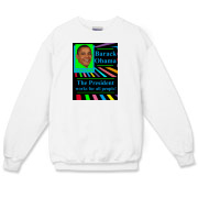 Shown in white, this Barack Obama Crewneck Sweatshirt is also available in ash gray and sport gray. It features his image and the slogan Barack Obama the President works for all people.