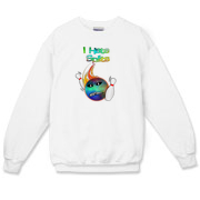 This humorous bowling crewneck sweatshirt has a flaming bowling ball smashing through bowling pins. The bowling ball has an angry grimace and bowling pins for eye pupils.