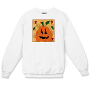 A crew neck sweatshirt, available in white, gray and sport gray, is great for fall and the Halloween season!