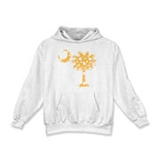 Yellow Polka Dot Palmetto Moon Kids Hooded Sweatshirt features a yellow palmetto moon with white polka dots. Buy this fun variation on the South Carolina palmetto moon flag today!