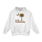Brown South Cackalacky Palmetto Moon Kids Hooded Sweatshirt features the South Carolina palmetto moon logo in brown.