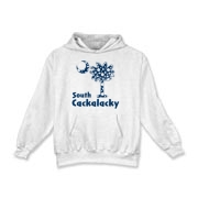 Blue Polka Dots South Cackalacky Palmetto Moon Kids Hooded Sweatshirt features a Polka Dot South Carolina palmetto moon logo in blue.