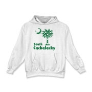 Green Polka Dots South Cackalacky Palmetto Moon Kids Hooded Sweatshirt features a Polka Dot South Carolina palmetto moon logo in green.