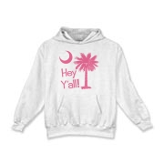 Say hello with the Pink Hey Y'all Palmetto Moon Kids Hooded Sweatshirt. It features the South Carolina palmetto moon.