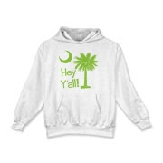 Say hello with the Lime Green Hey Y'all Palmetto Moon Kids Hooded Sweatshirt. It features the South Carolina palmetto moon.