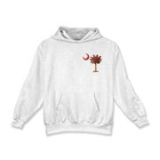 The basketball palmetto moon features the South Carolina palmetto with a basketball and hardwood floor theme positioned in the pocket area of a Kids Hooded Sweatshirt.