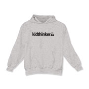 Official kidthinker logo on kids hooded sweatshirt.