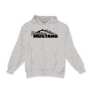 Warm Kids Hoodie features our popular Prestige Mustang Bold Logo design on the front