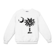 Black Polka Dot Palmetto Moon Kids Crewneck Sweatshirt features a black palmetto moon with white polka dots. Buy this fun variation on the South Carolina palmetto moon flag today!