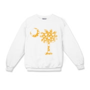 Yellow Polka Dot Palmetto Moon Kids Crewneck Sweatshirt features a yellow palmetto moon with white polka dots. Buy this fun variation on the South Carolina palmetto moon flag today!