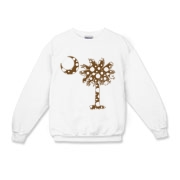 Chocolate Brown Polka Dot Palmetto Moon Kids Crewneck Sweatshirt features a chocolate brown palmetto moon with white polka dots. Buy this fun variation on the South Carolina palmetto moon flag today!