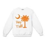Say hello with the Orange Hey Y'all Palmetto Moon Kids Crewneck Sweatshirt. It features the South Carolina palmetto moon.