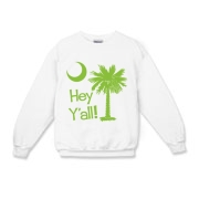 Say hello with the Lime Green Hey Y'all Palmetto Moon Kids Crewneck Sweatshirt. It features the South Carolina palmetto moon.