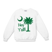 Say hello with the Green Hey Y'all Palmetto Moon Kids Crewneck Sweatshirt. It features the South Carolina palmetto moon.
