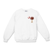 The basketball palmetto moon features the South Carolina palmetto with a basketball and hardwood floor theme positioned in the pocket area of a Kids Crewneck Sweatshirt.
