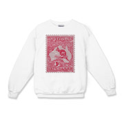 This Australian stamp was first issued in 1913. These shirts have a slightly distressed look for an aged appearance.