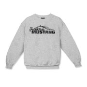 Cozy Kids Crewneck Sweatshirt features our popular Prestige Mustang Fade Logo design on the front
