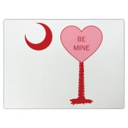 A Candy Heart Palmetto Moon with Be Mine! Perfect for Valentine's Day, it features a pink candy heart on the South Carolina Palmetto Moon with Be Mine.