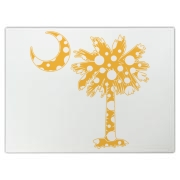 Yellow Polka Dot Palmetto Moon Cutting Board features a yellow palmetto moon with white polka dots. Buy this fun variation on the South Carolina palmetto moon flag today!