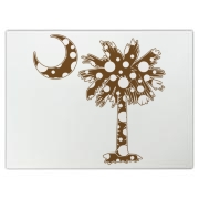 Chocolate Brown Polka Dot Palmetto Moon Cutting Board features a chocolate brown palmetto moon with white polka dots. Buy this fun variation on the South Carolina palmetto moon flag today!