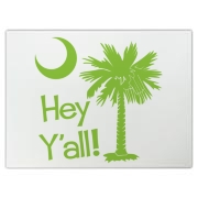 Say hello with the Lime Green Hey Y'all Palmetto Moon Cutting Board. It features the South Carolina palmetto moon.