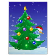Snowman peeking from behind decorated Christmas tree. Christmas spirit, Holiday fun, great mood - all in one on this digital illustration.